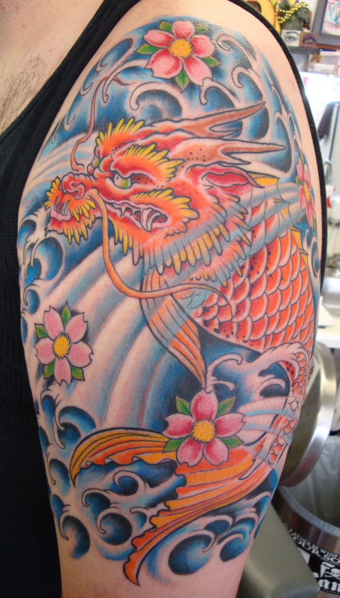 dragon fish tattoo with waves and cherry blossoms opie ortiz ForDragon Fish Tattoo