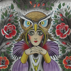 Lady Owl with Roses