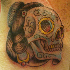 Skull Neck Tattoo
